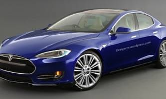 new tesla model e rendering
